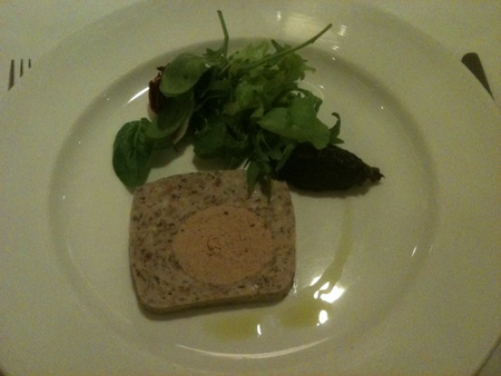 Quail and Venison Saddle Terrine, Gingered Red Onion Compote, Masclun Salad