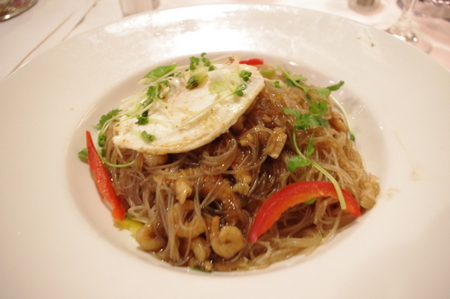 Bami Goreng -Stir-Fried Noodles with Chicken and Bay Shrimp, Fried Egg Sunny-Side-Up-(バミゴレン)