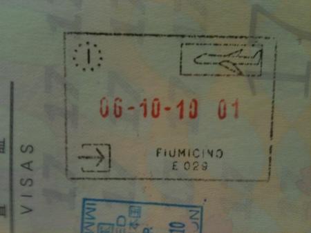 イタリアの入国スタンプ