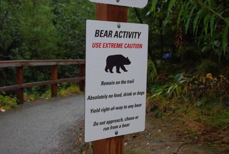 熊に注意の看板