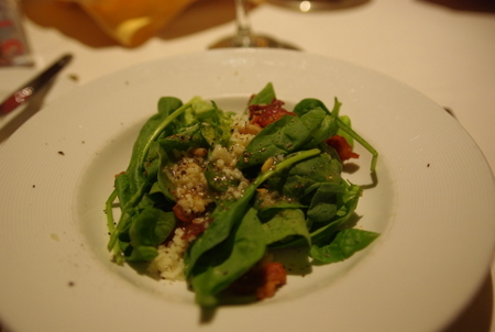 サラダ:ほうれん草とベーコンのサラダ