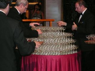 シャンパンウォーターフォールの準備中
