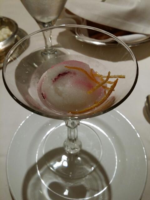 ブルーベリーモーヒートのシャーベット、レモンの砂糖漬け on ダイヤモンドプリンセス